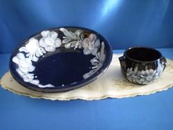 Városlődi kézzel festett kerámia kínáló tálaló tál 2 db
