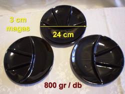 Városlődi fekete kerámia tál 4 részre osztott 24 cm átmérő