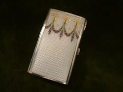 Ezüst zománcos női cigaretta tárca