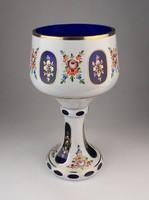 0O788 Hatalmas fújt üveg kristály pohár 24 cm