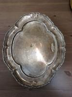 Antik patinás ezüst tálca díszes bordűrrel a szélén 730 gramm