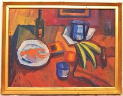 V. Tóth László (1930-) Csendélet Homárral c . képcsarnokos olajfestménye 86x66cm EREDETI GARANCIÁVAL