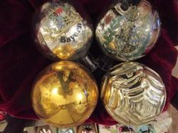 RÉGI NAGY 20 cm KARÁCSONYFA ANTIK KARÁCSONY ÜVEG karácsonyfadísz 4 darab KORONA CÍMER -S