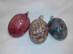 Színes márványos üveg tojásdad dísz 3 darab karácsonyfa dísz