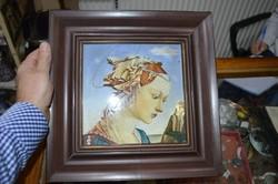 Porcelán kép barna keretben