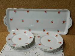 Zsolnay virágmintás 6 személyes süteményes vagy szendvicses  készlet.
