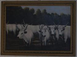 Szürkemarha a Hortobágyon 78×58 olajfestmény-farost