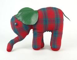 0P514 Retro kockás elefánt plüss figura