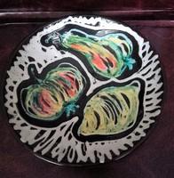 Retro  gyümölcsös jelzett  iparművész  kerámia fali tál,fali tányér, fali dísz, dísztárgy