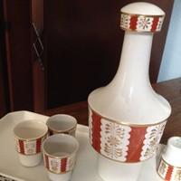 Kézzel festett hollóházi pálinka kínáló készlet - régiség (6+1 db)