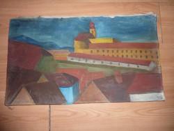 Színes látkép kastéllyal, olaj-vászon, jelzés nélkül