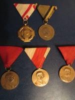 5 db Ferenc József kitüntetés