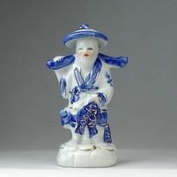 0P170 Kis méretű kék-fehér japán porcelán figura