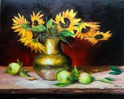 Napraforgók és almák 50 x 40 cm Eredeti KINVA festmény