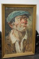 Cigarettázó férfi portré - szignált!