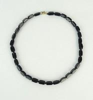 0P476 Régi fekete női bizsu nyakék lánc