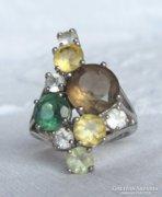 Csodaszép ezüst gyűrű valódi kristályokkal