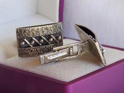 Modernista ezüst mandzsettagomb - gyönyörű kézműves darab