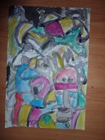 Cs. Németh Miklós: Kalapos fejek, akvarell, jelzett