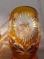 Narancs-fehér kristály váza pár