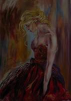 Moona - Piros ruhában ANNA RAZAMUSKAYA festmény MESTERMÁSOLATA