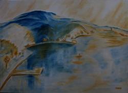 Moona - Az öböl EGRY JÓZSEF stílusában festett olajfestmény