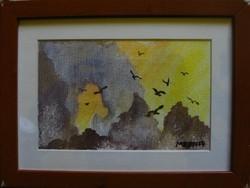 Moona - Tengerparti sziklák EREDETI Moona festmény kerettel