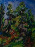Moona - Fák a sziklákon CEZANNE festményének mestermásolata