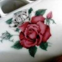 6 db mélyvörös rózsás Royal Dux Bohemia bögre/pohár