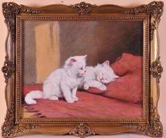 Rainerné Istvánffy Gabriella (1875-1964): Fehér cicák a pamlagon