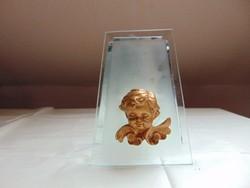 Különleges angyalkás gyertyatartó, üveg és tükör kombináció.  /1284
