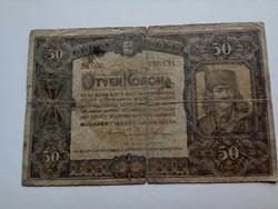 1920-as 50 Korona sötétebb színű sor-és sorozatszám R!