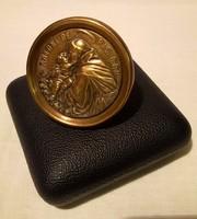 Régi Szent Antal kisdeddel medál réz keretben asztali kép bársony béléses díszdobozban