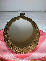 Antik angyalkás, réz fali tükör