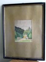 34x44 - 14x18cm / festmény keretben üvegezve szignózott