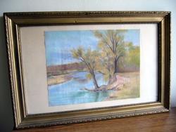 54x36 - 32x25cm / Szignózott kép régiség vízparti keretben üvegezve