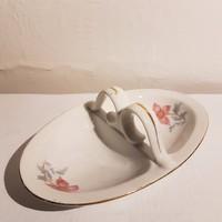 Régi, ritka, aranyozott Zsolnay porcelán asztali sótartó, fűszertartó