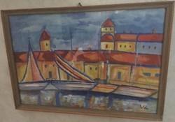 Vén Emil a kikötő 42,5 cm X 29,5 cm szignós, üvegezett keretben