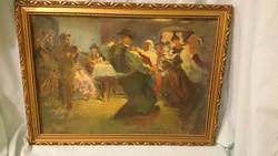 Prohászka festmény olajfestmény MULATÓS