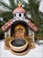 Karácsonyi mécsestartó kegyhely kerámia