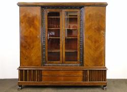 0E189 Antik oroszlánlábas vitrines könyvszekrény