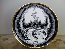 Extrém ritka Hollóházi Jurcsák László,aranyozott tányér,dísztányér 25cm