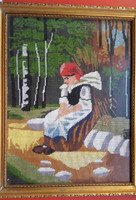 Rőzsehordó nő Munkácsy Mihály 1873-ban festett hires olaj festményének gobelin változata