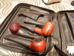 Pipatartó táska és pipafejek és pipavég egyben