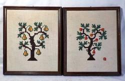 Almafa , körtefa keresztszemes hímzett kép pár