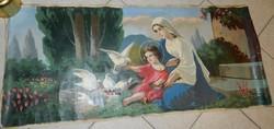 Antik eredeti olajfestmény - Szűz Mária Kisjézussal festőművész által készített másolat