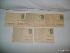 Levelezőlap 1936/37 - öt darab