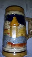 Lucern feliratú lüszter mázas, domború mintájú 0,5 literes  kiváló állapotú korsó, kancsó,söröskupa