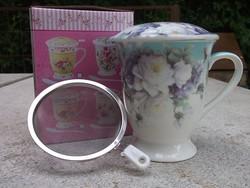 Új-3 részes teaszűrős bögre-csésze fém szűrő, tető-ajándékba is