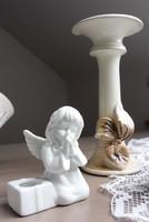 Imádkozó porcelán angyal gyertyatartó